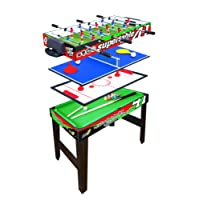 Multigioco Sport One Supertable II - 4 Giochi in 1 - Calciobalilla 3 Vs 3 Aste Rientranti / Ping Pong / Tavolo da Biliardo & Speed Hockey - Cm 97,5 X 48 X 69 con ASTE DI SICUREZZA - NOVITA WINTER 2018