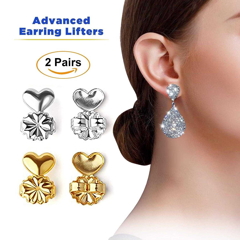 Advanced Premium Quality Earring Lifters | Back Lobe Ear Support | 2-Pair Set of Piercing Ear Lobe Back Lift | Sterling Silver and 18K Gold Plated for Ear Lobe Reinforcement | BONUS Velvet Storage Bag AdvancedAMZ