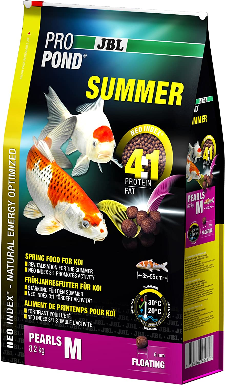 JBL Comida de Verano para Koi con Perlas flotantes de Temporada, ProPond Summer Talla M, 8,2 kg