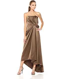 dc6362104435 Amazon.com: Halston Heritage Women's Strapless Gown with Sheer ...
