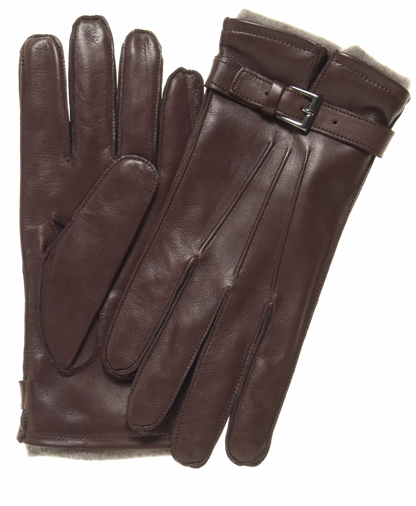 Fratelli Orsini Men's Italian Cashmere Lined Lambskin Gloves with Belt Size 12 Color Brown