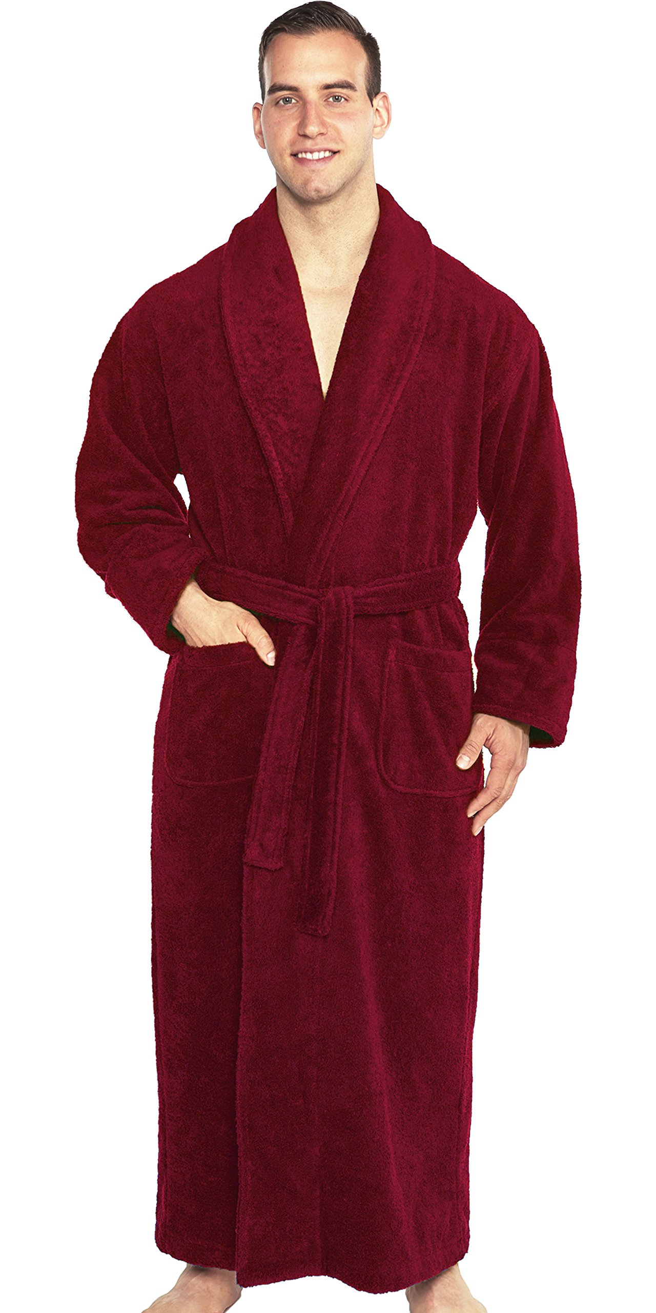 TurkishTowels Mens and Womens Original Terry Shawl Turkish Bathrobe-M, Maroon