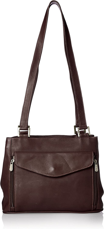 Piel Leather Double Compartment Shoulder Bag, Chocolate