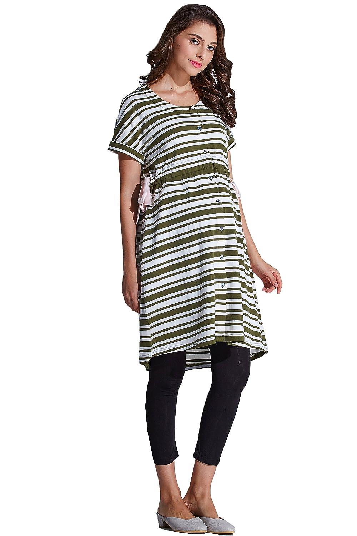 2032443d8bd9b Amazon.com: Sweet Mommy Maternity and Nursing Pajama Dress Robe and  Leggings Set Khaki Border L: Clothing