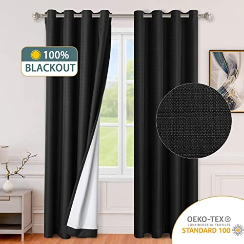 LORDTEX 100 Blackout Curtains for Bedroom – Textured Faux Linen Curtains, Thermal Insulated Sun Light Blocking Grommet Window Drapes for Living Room, Set of 2 Curtain Panels, 52 x 84 Inch, Black