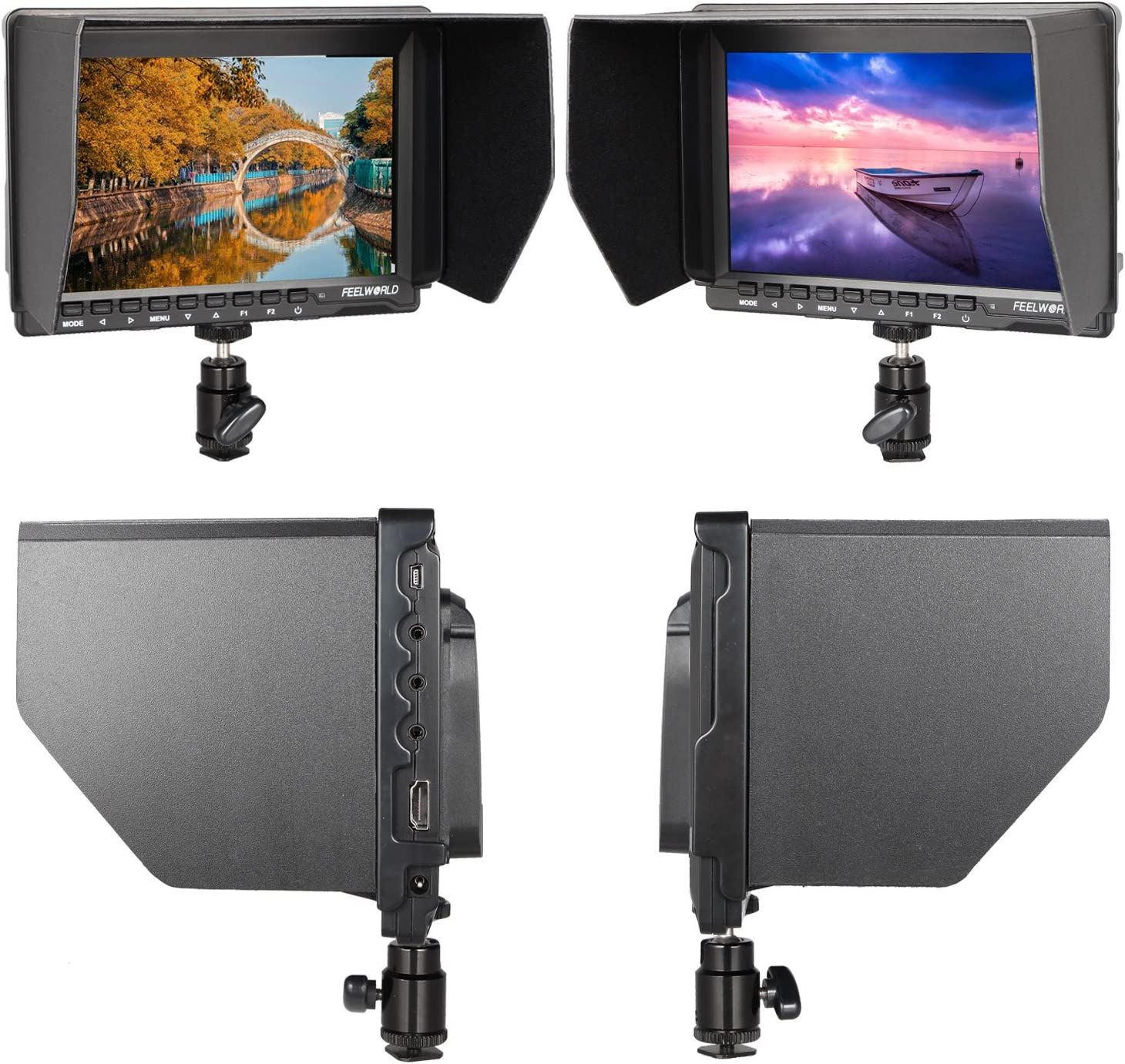 FEELWORLD FW 759 7 Inch HD 1280x800 IPS On Camera Field Monitors 16:10 or 4:3 Adjustable Ratio 800:1 Contrast Camera HDMI Monitor for Cannon,Sony,FPV Monitors with ANDYCINE Cleaning Sheet