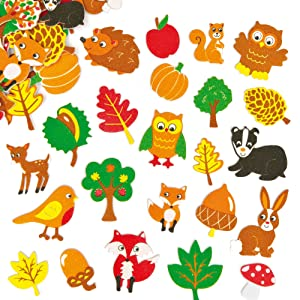 Baker Ross - EF862 Woodland Friends, Puffy Scrapbook Stickers in Fun Foam Shapes (Pack of 100), assorted