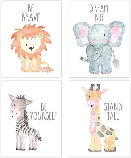 Nursery Animals Wall Art Poster Decoration Set Of 4