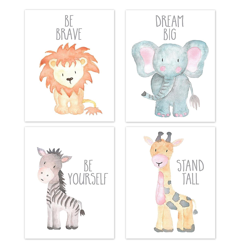 セットの4サファリ保育園ベビーキッズ部屋壁Prints、ベビー動物肖像画ライオン象Zebra Giraffe保育園アート、保育園インテリア、ベビーキッズ部屋、壁アート、フレームなし 11x14