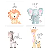 Nursery Wall Art Animal Paintings Set of 4, Safari Nursery Baby Kids Room Wall Prints, Baby Animal Portraits Lion Elephant Zebra Giraffe Nursery Art, Nursery Decor, Baby Kids Room, Wall Art, UNFRAMED