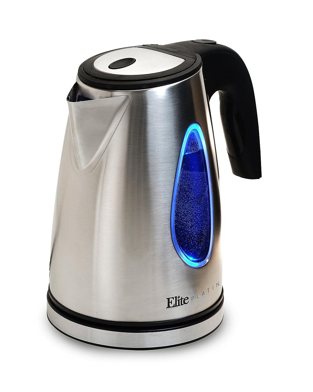 Elite Platinum EKT-1330 1.7-Liter Cordless Electric Water Tea Kettle, Stainless Steel BPA Free