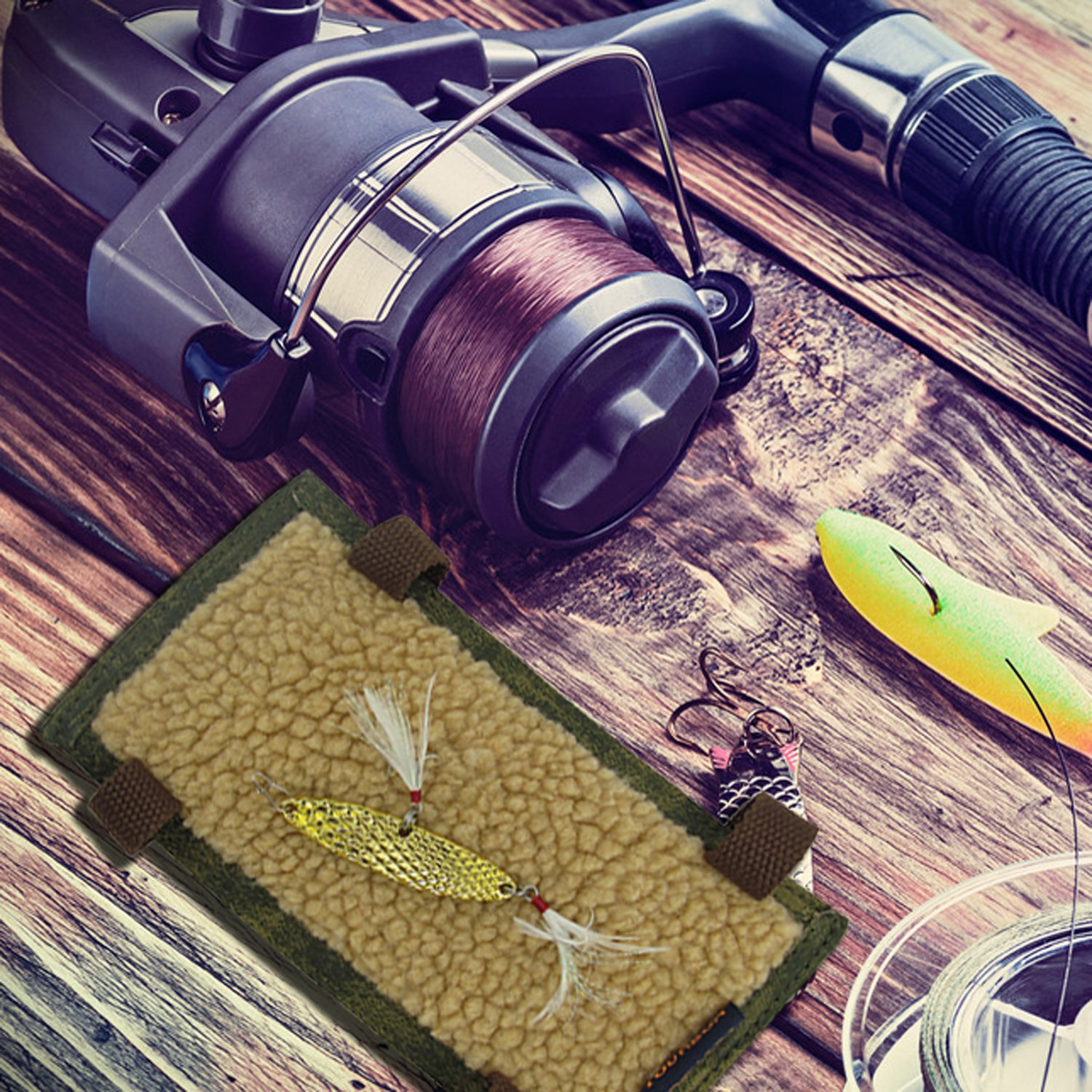 Tourbon Canvas Vintage Fly Patch Fishing Flies Lures Holder