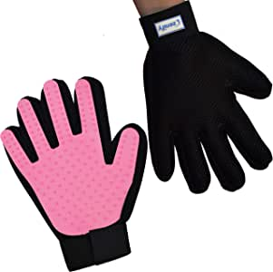 Zenify Cat Hair Remover Grooming Glove Mitt for Deshedding Fur from Cats, Kittens, Rabbits, Guinea Pigs (Light Pink - Right Handed)