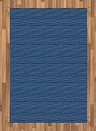 Amazon Com Ambesonne Blue And White Area Rug Hand Drawn Style