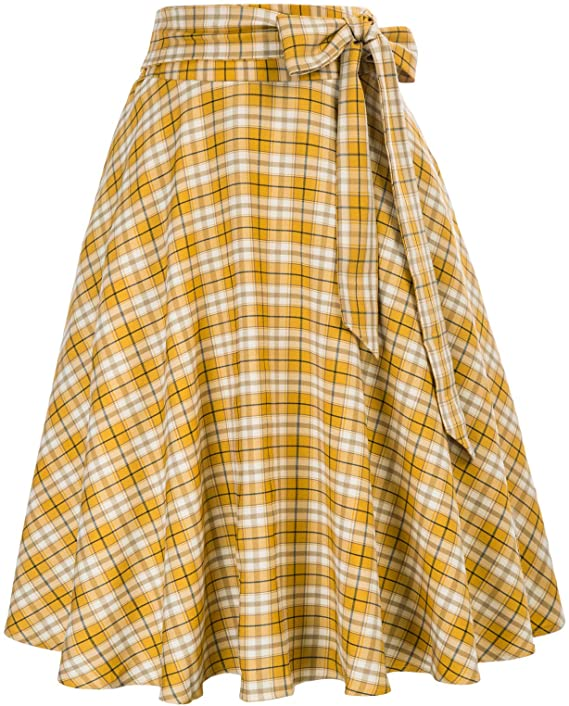 1940s Teenage Fashion: Girls Belle Poque Womens High Waist A-Line Pockets Skirt Skater Flared Midi Skirt $24.99 AT vintagedancer.com