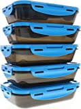 6 Pack Fitness Sure Seal Containers 24oz Black/Neon Blue Set of 5