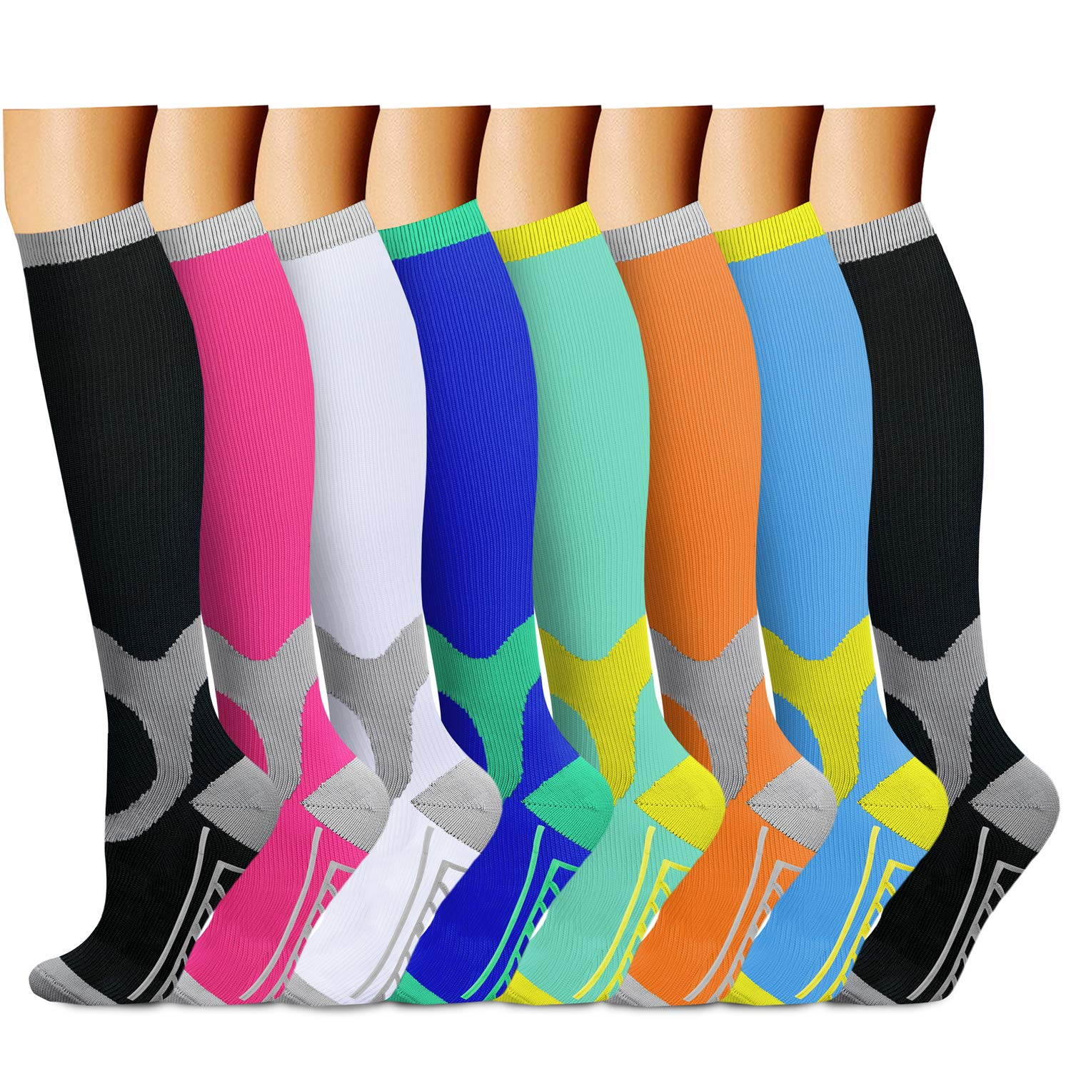 CHARMKING Compression Socks 15-20 mmHg is BEST Graduated Athletic & Medical for Men & Women Running, Travel, Nurses, Pregnant - Boost Performance, Blood Circulation & Recovery(Small/Medium,Assorted 4)