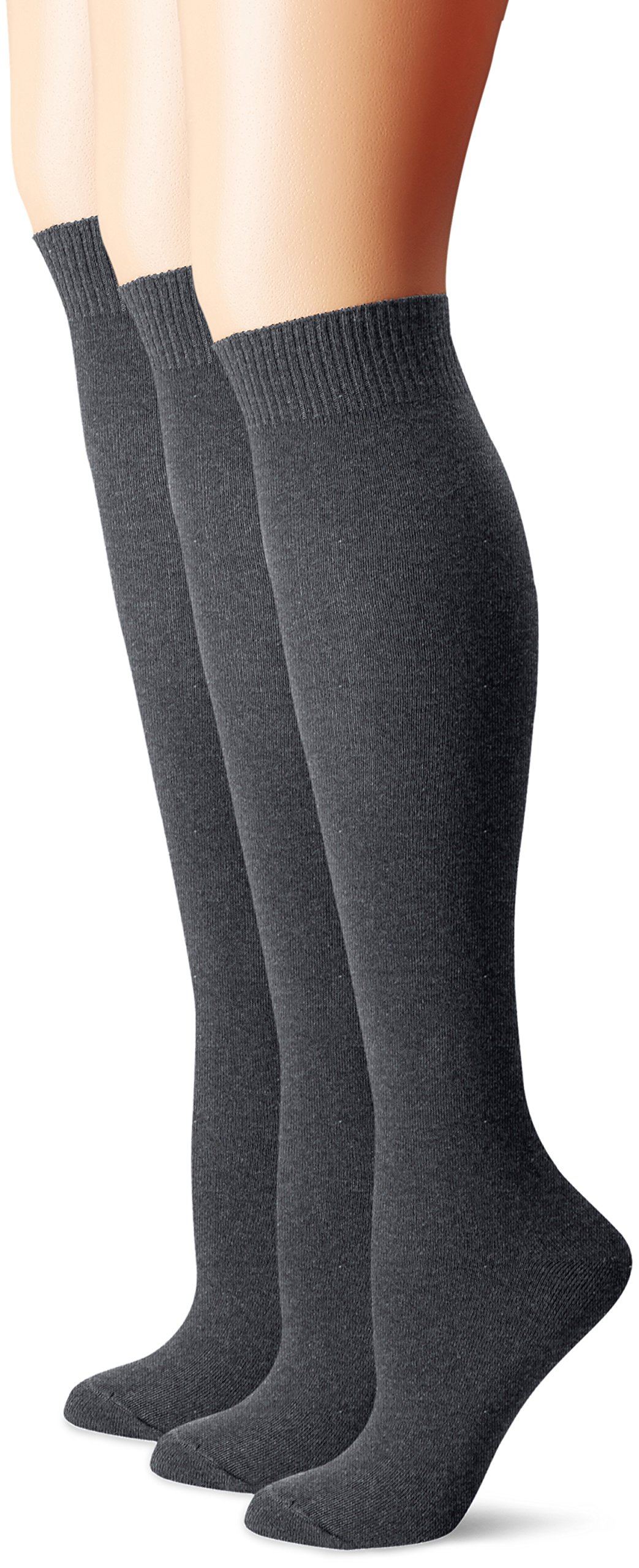 HUE Women's Flat Knit Knee Socks (Pack of 3),Graphite Heather,One Size