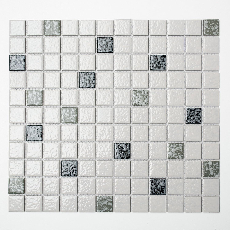 Mosaikfliesen Fliesen Mosaik K/üche Bad WC Wohnbereich Fliesenspiegel Keramik Quadrat schwarz wei/ß geh/ämmert 6mm #K156