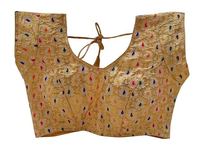 PEEGLI Las Mujeres Indias Recogen Las Blusas Rellenas Choli Confeccionadas De La Sari Lista Superior
