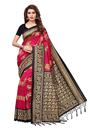 a056bd1e295 Salwar Studio Women s Pink   Black Mysore Silk with Jhalor Printed Saree  with Blouse Piece(OM-0037204 Pink Free Size)  Amazon.in  Clothing    Accessories