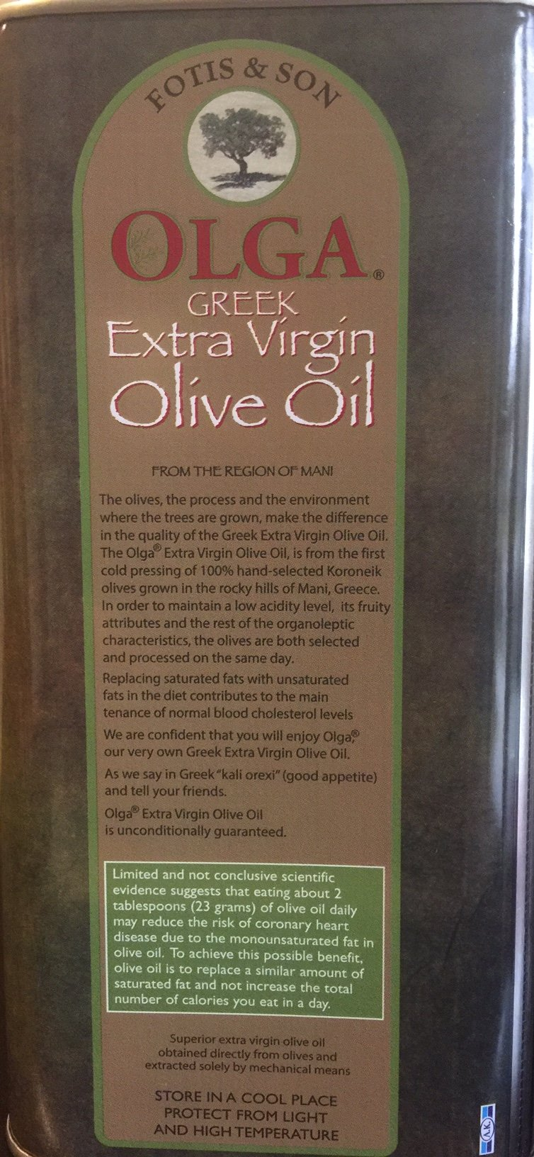 Greek Extra Virgin Olive oil Olga Brand 3 liter by Olga Extra Virgin Olive oil (Image #2)