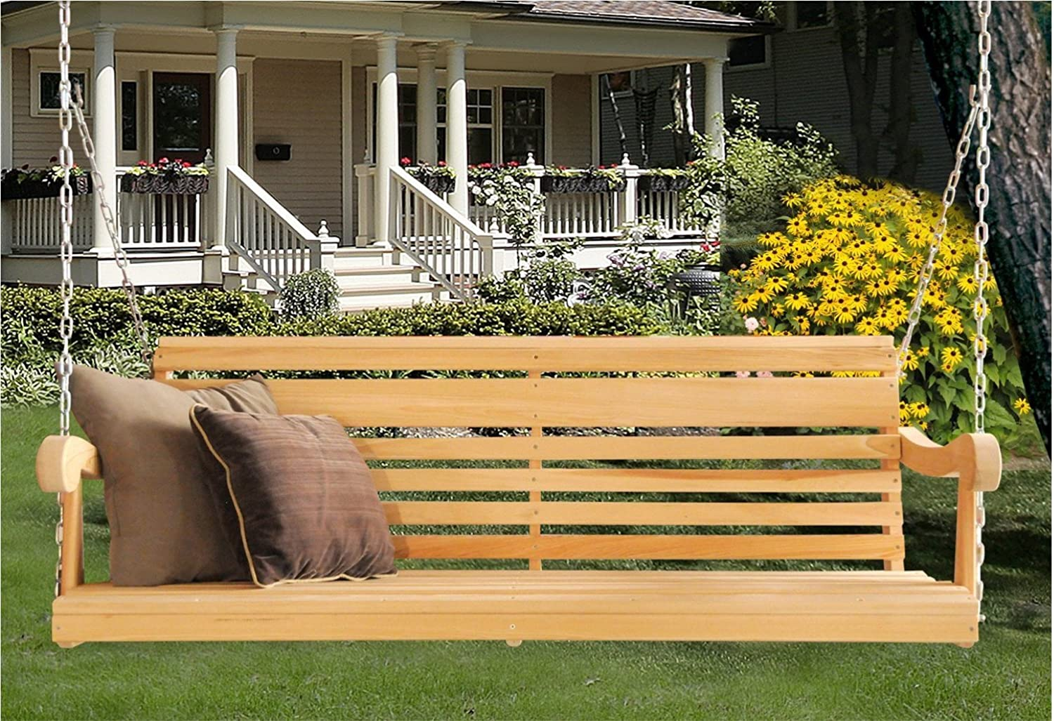 5 Ft LOUISIANA CYPRESS PORCH SWING Scandinavian Grandpa Style MADE from Hand selected Rot-resistant CYPRESS WOOD Chains Included