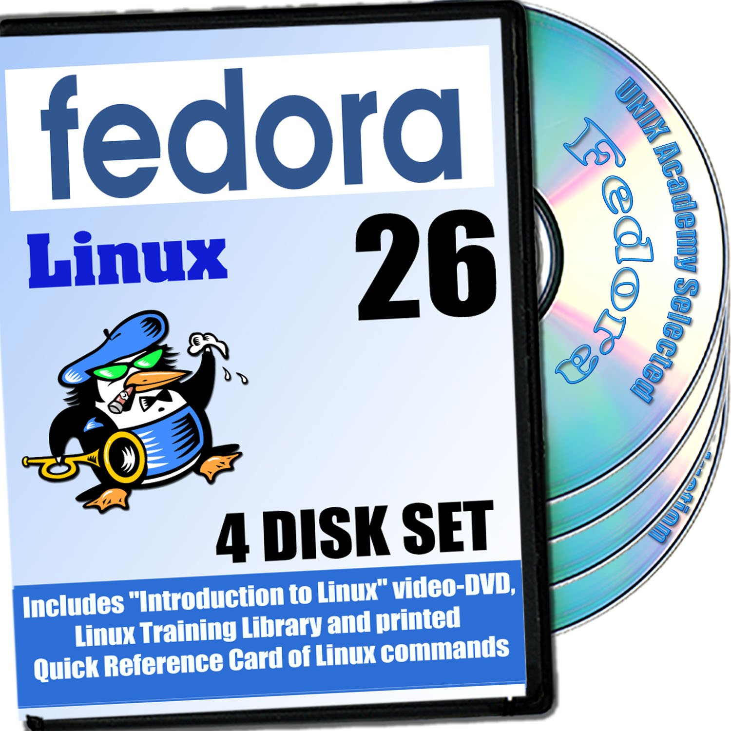 Fedora 25 Linux, 4-Discs DVD Installation And Reference Set by PRIZIX