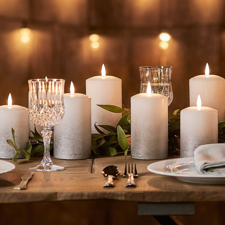 Lights4fun 3er Set TruGlow/™ LED Echtwachskerzen Silber Ombre Kerzen mit warmwei/ßer LED Flamme Timer batteriebetrieben
