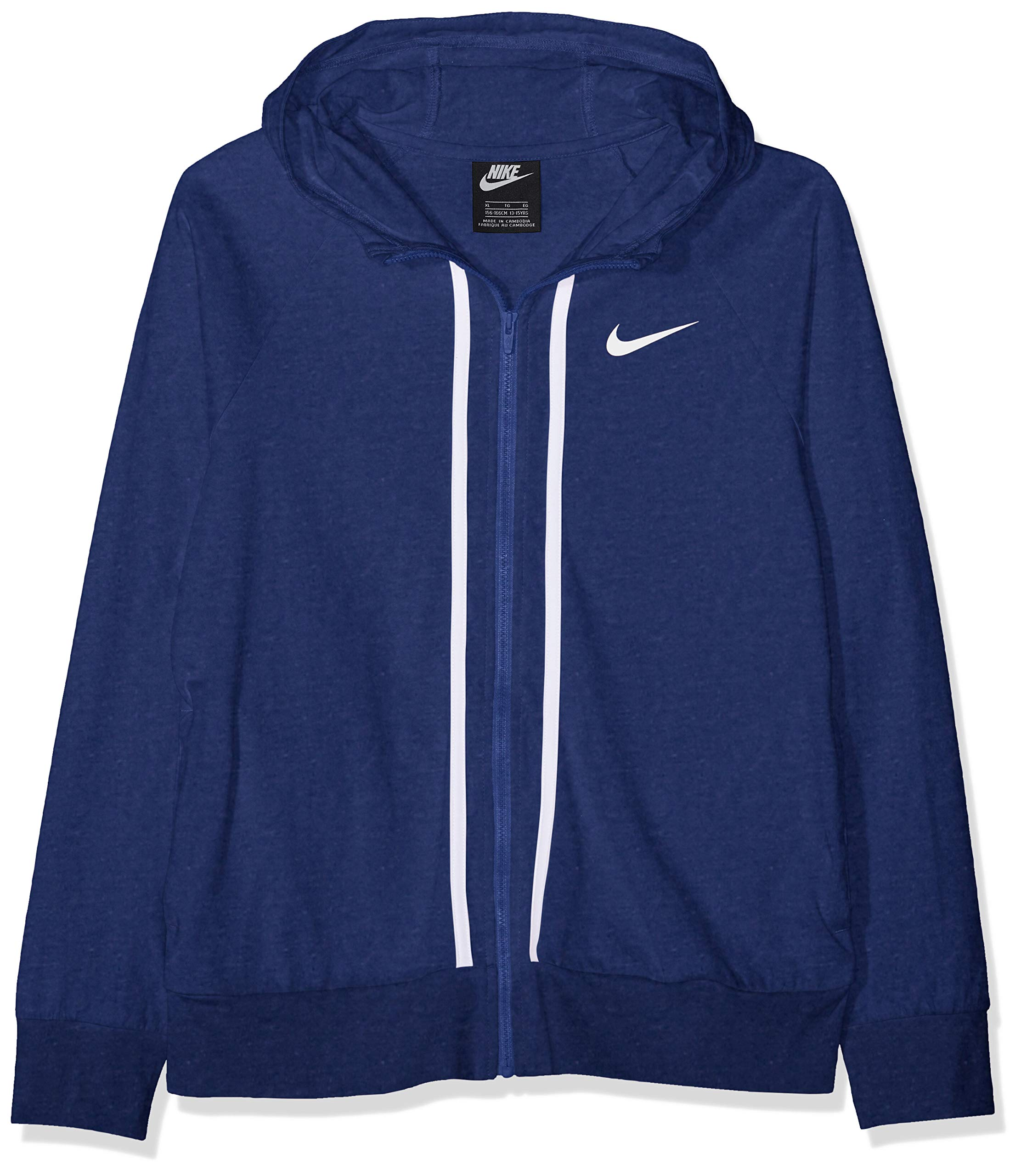 NIKE Girl's NSW Full-Zip Jersey, Indigo Force/Heather/White, Large by Nike