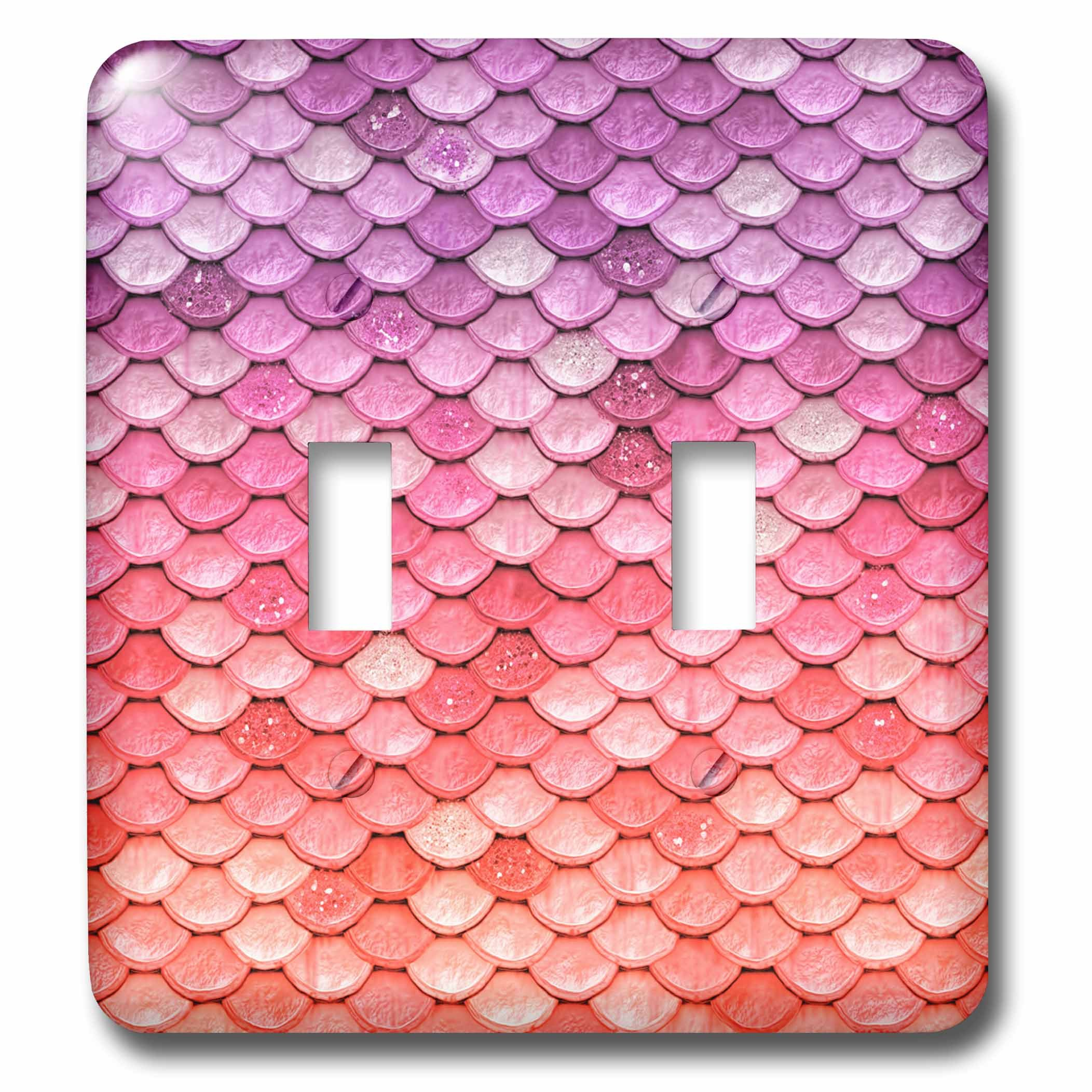 3dRose lsp_266964_2 Sparkling Rose Gold Pink Luxury Mermaid Scales Glitter Effect Art Print Toggle Switch, Mixed