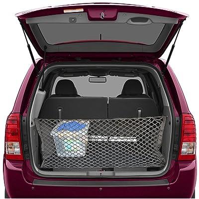 lebogner Trunk Storage Net Car Trunk Organizer, Mesh Net Hammock Cargo Storage Vehicle Organizer with 3 Mounting Options, Premium Quality Universal Fit Car Organizer: Automotive