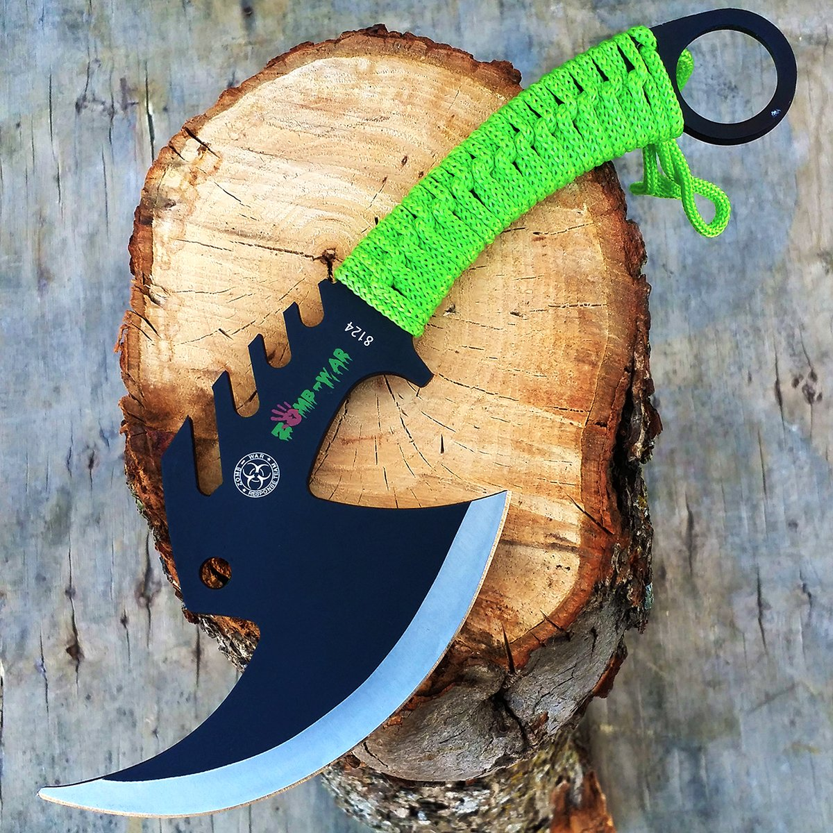 Biohazard 11'' Z-Hunter Tactical Survival Tomahawk Battle Hatchet Outdoor Hunting Camping Throwing Axe Razor Sharp cleaver Zombie Apocalypse Knife   with Holt Multi Tool Key Chain