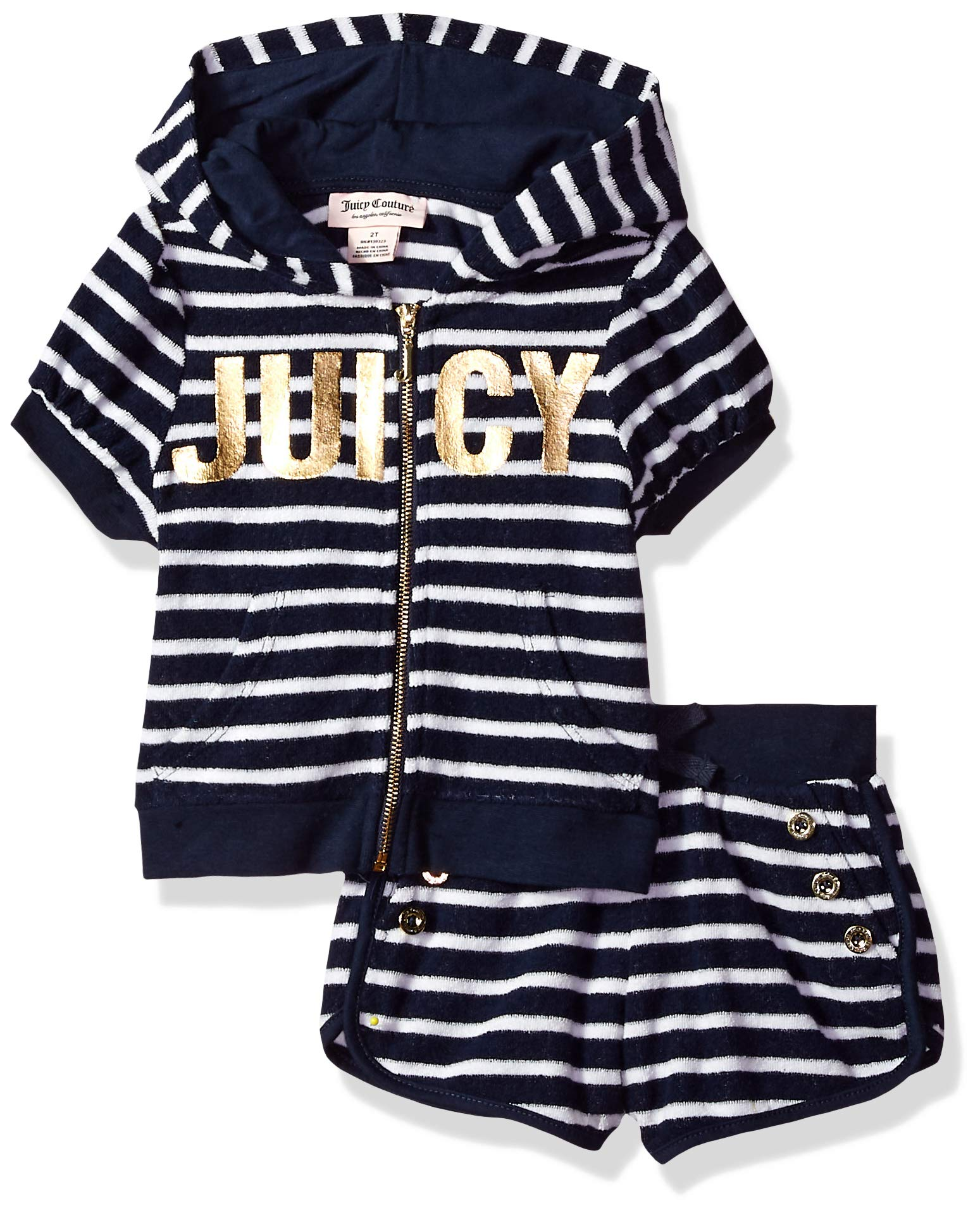 Juicy Couture Girls' Big 2 Pieces Hoody Shorts Set, Navy/White, 8/10 by Juicy Couture (Image #1)