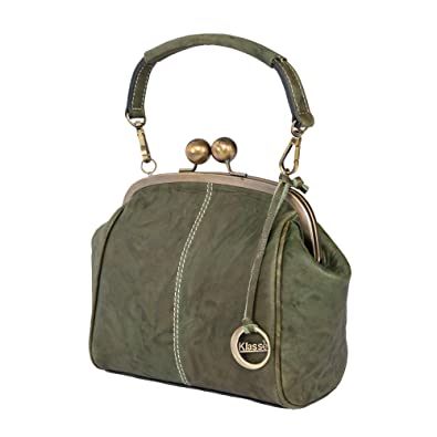 0f5202127a3a Klasse Women s Green Elegant Leather Sling Bag with Clasp Tassel and Handle   Amazon.in  Shoes   Handbags