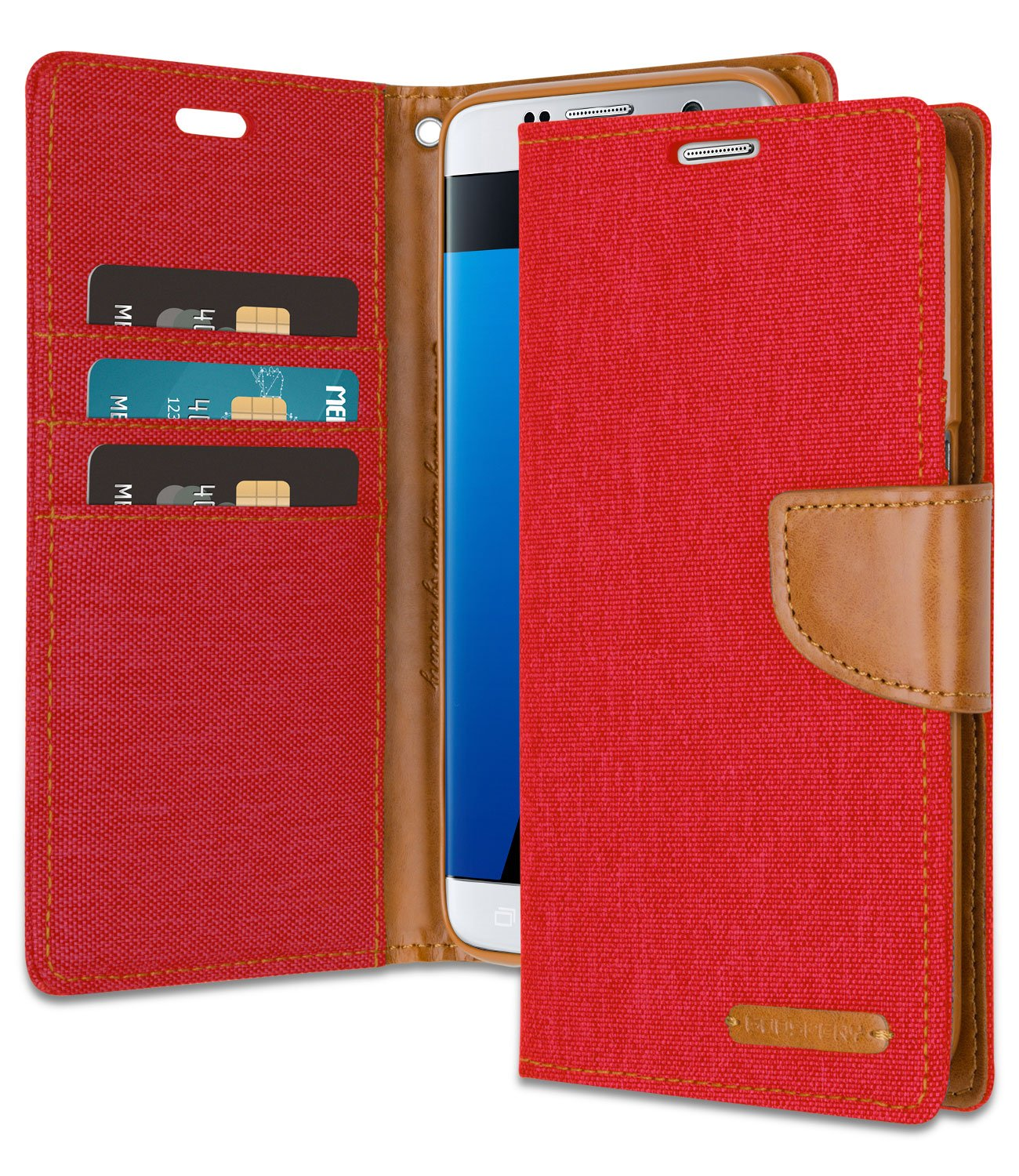 Goospery Xiaomi Note 2 Canvas Diary Case Red Galaxy S7 Edge Wallet With Free 4 Gifts Shockproof Vermagnetic Denim Material Card Holder Kickstand Flip