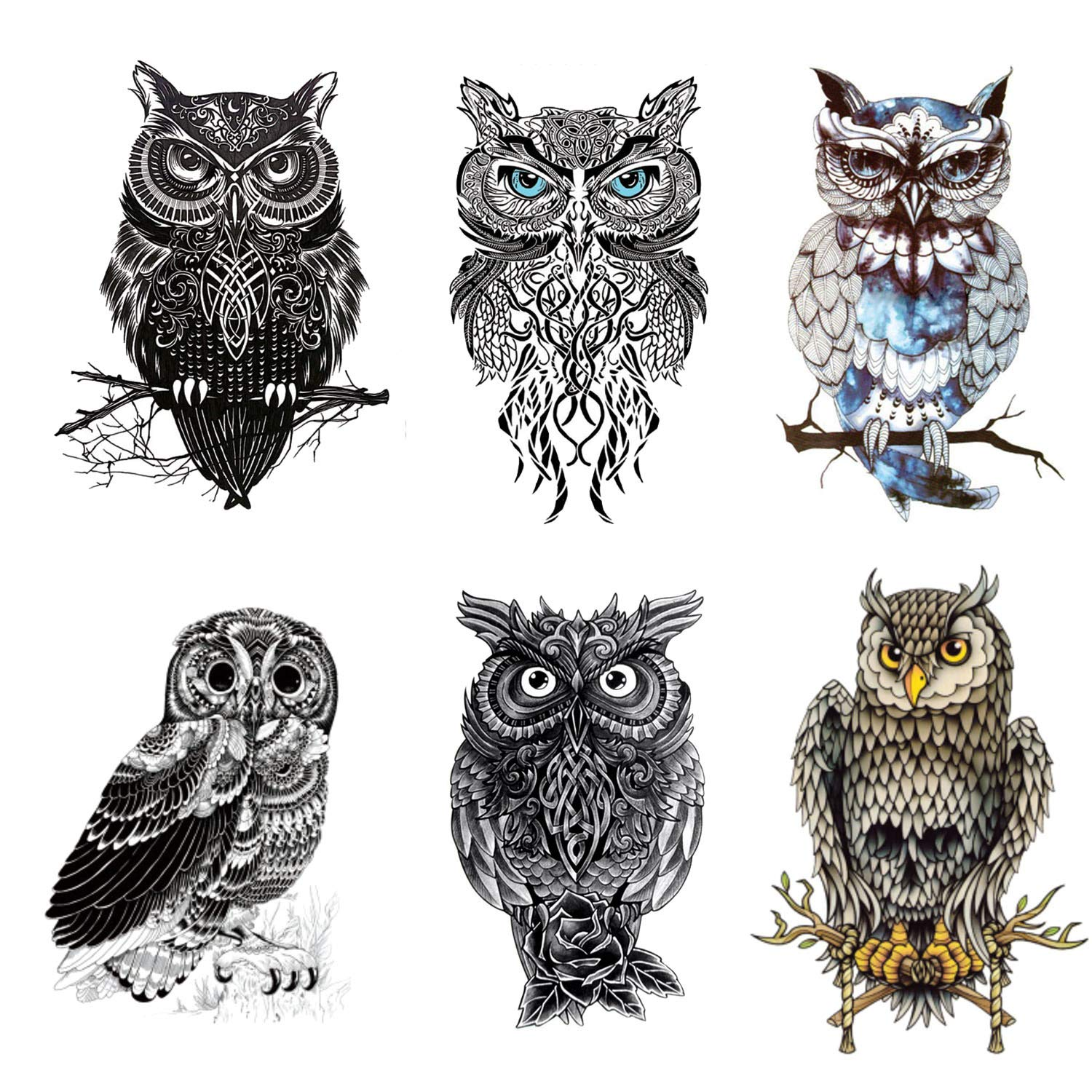 5514ef5d7 Amazon.com : Owl Temporary Tattoos Large Temporary Tattoo Half Arm Tattoo  Sleeves Stickers Shoulder Body Art for Men Women Teens-6 Sheets : Beauty