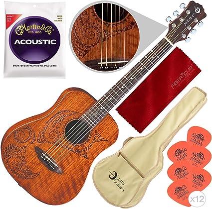 Luna Safari Series Tattoo Guitarra acústica Dreadnought tamaño ...