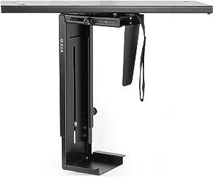 VIVO Black Adjustable Under-Desk Slider PC Mount, Computer Case Holder with Pullout Slide Track and 360 Degree Swivel (MOUNT-PC01D)