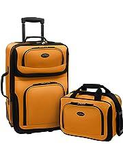 Travelers Choice US Traveler Rio Expandable Carry-On Luggage Set, One Size, 2-Piece (Mustard/Orange)