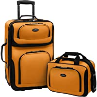 US Traveler Rio Two Piece Expandable Carry-On Luggage Set, Mustard, One Size
