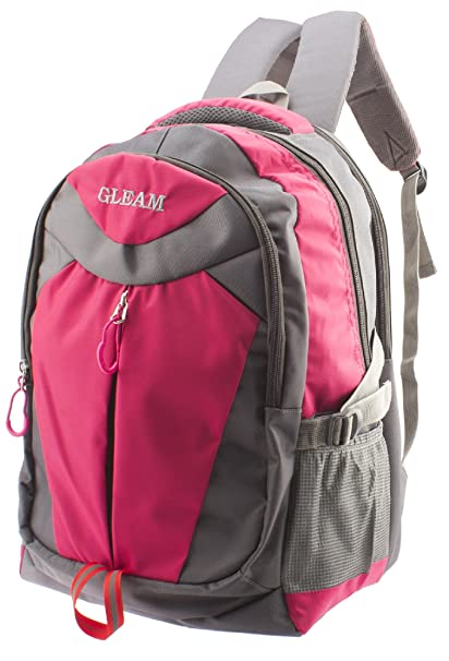 57a5b84fb30d GLEAM Polyester Pink and Grey School Bag  Amazon.in  Bags