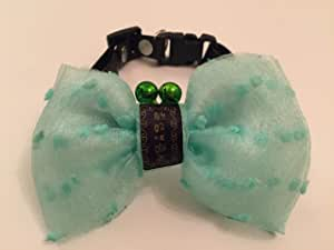 Cat and Dog Collar in Green and White with Bells