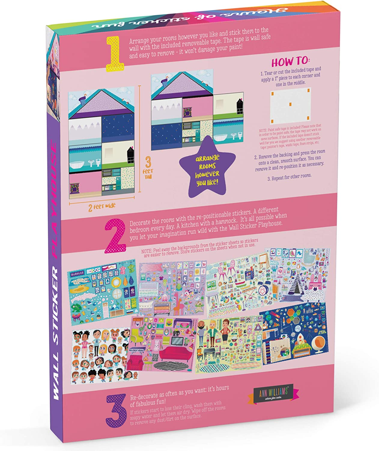 Wall Sticker Playhouse Craft-tastic Jr 3-Foot Tall Dreamhouse with Over 550 Reusable /& Repositionable Stickers