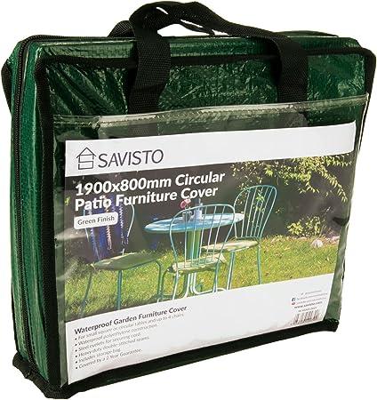 Savisto - Cubierta para Muebles de jardín o Patio, Redonda y ...
