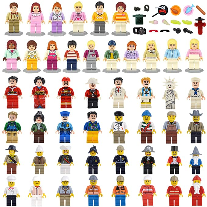 Maykid Minifigures Set of 48+22 Includes Building Bricks Community People with Figures Accessories Building Blocks Party Supplies Toys