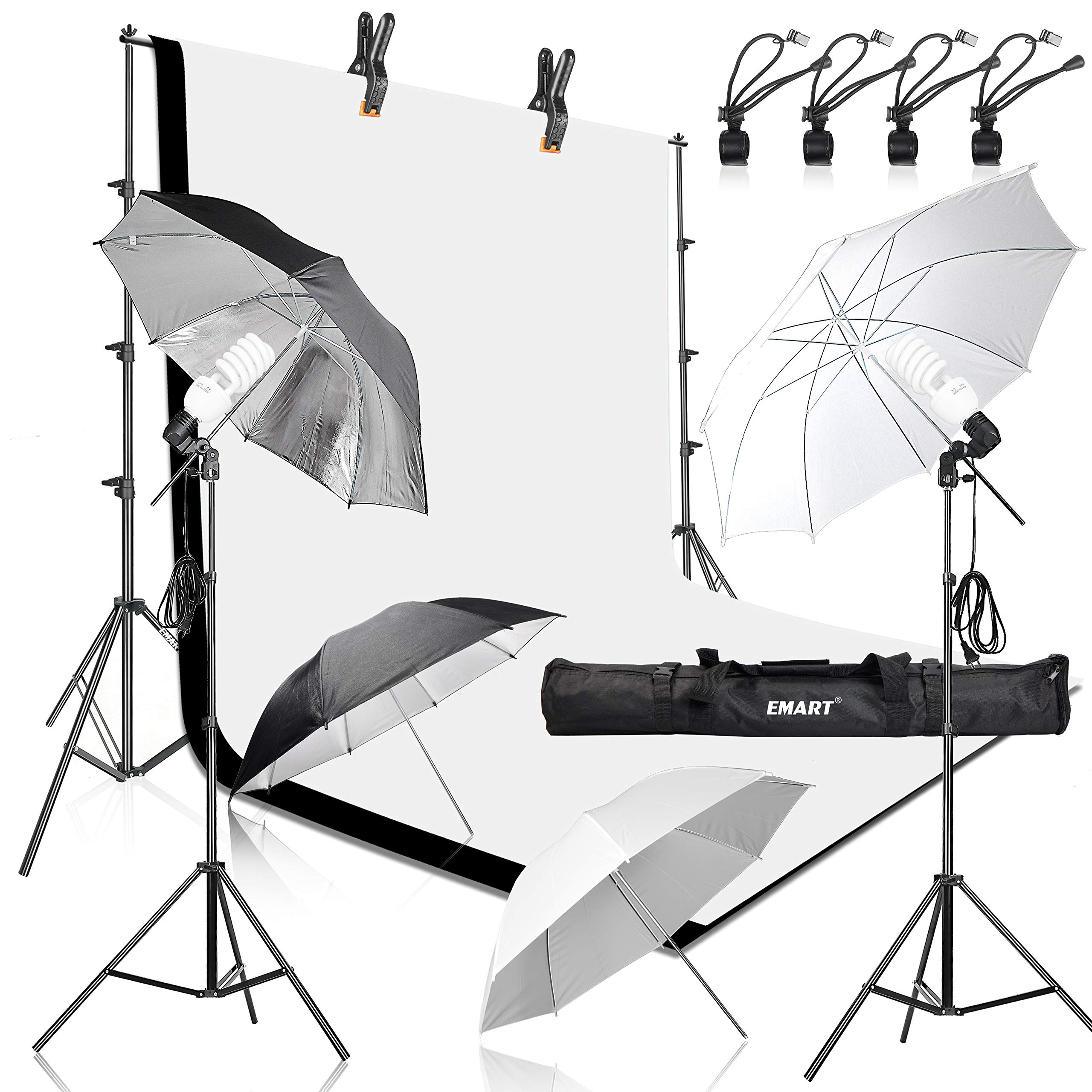 Emart 400W 5500K Daylight Umbrella Continuous Lighting Kit, 8.5x10ft Background Support System with 2 Muslin backdrops (Black and White) for Photo Studio Product, Portrait and Video Shoot Photography by EMART