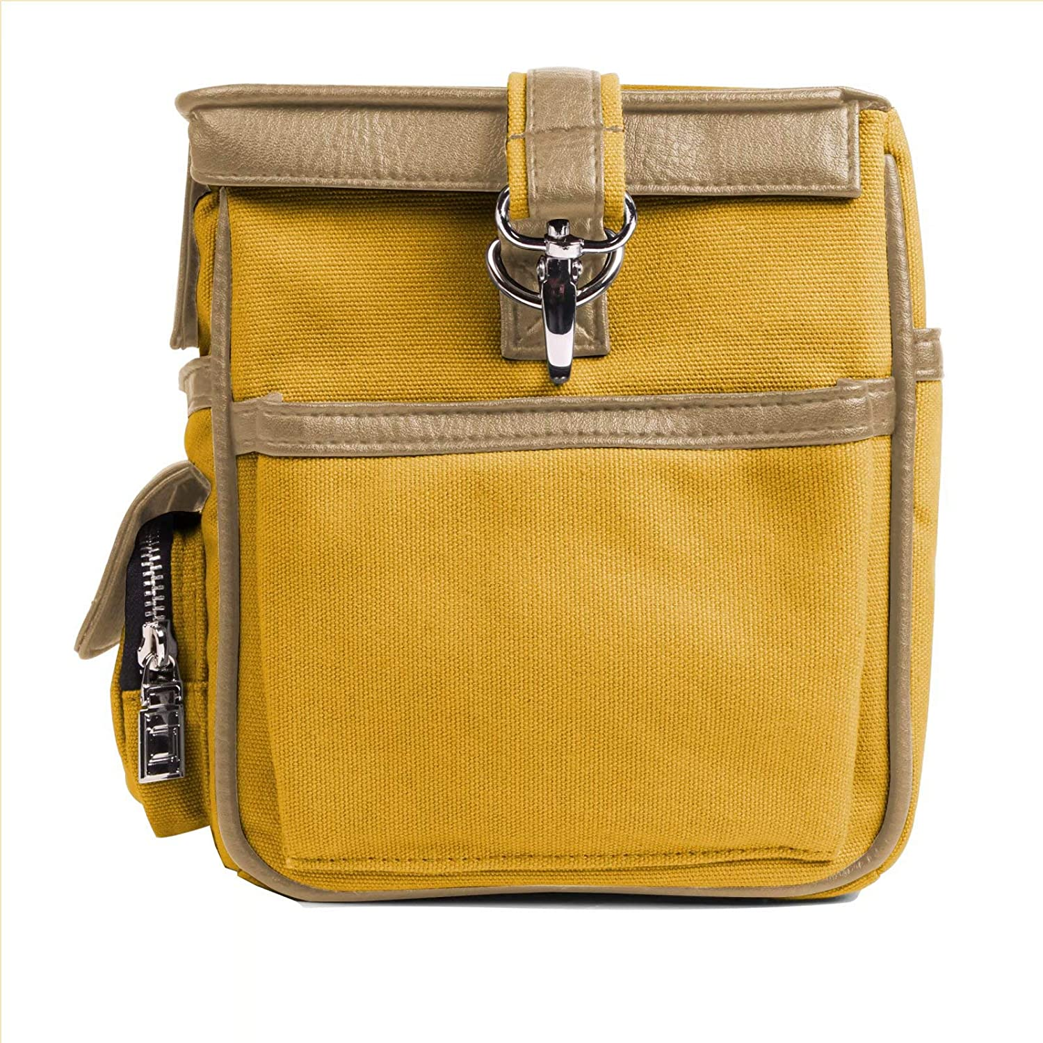 FUJIFILM PENTAX Olympus Yellow, Camel Leather and Canvas Camera Crossbody Bag Case for Canon