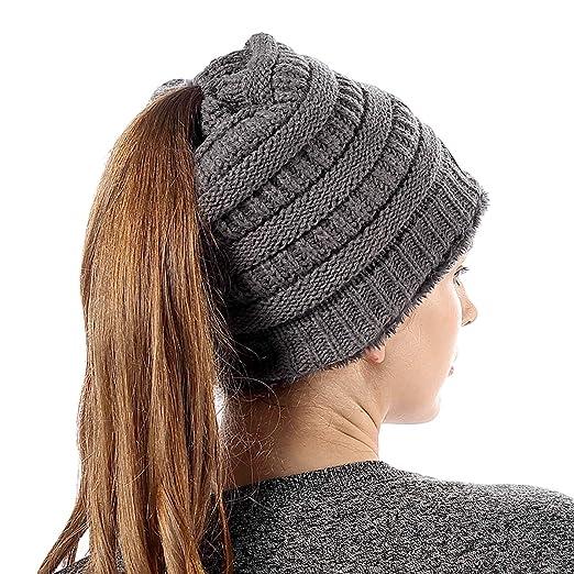FLY HAWK Women Knit Soft Stretch Beanie Hat with Warm Liner Messy High Bun  Ponytail Skull 1262dac366bb