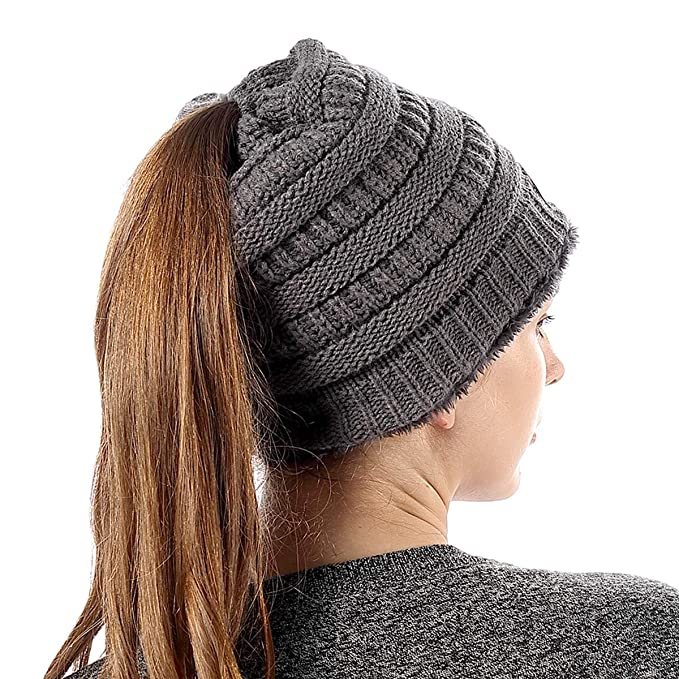 d74ded1268d FLY HAWK Women Knit Soft Stretch Beanie Hat with Warm Liner Messy High Bun  Ponytail Skull